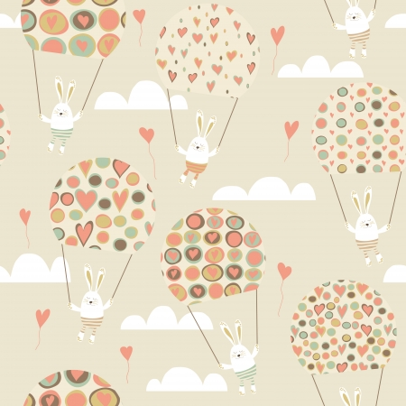 Romantic seamless pattern with cute rabbits parachutists . Parachute with hearts.  Happy hares flying in clouds. Valentines day card design. Vector illustration.