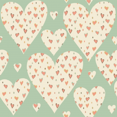 Cartoon hearts and circles seamless pattern. Valentines day card design.