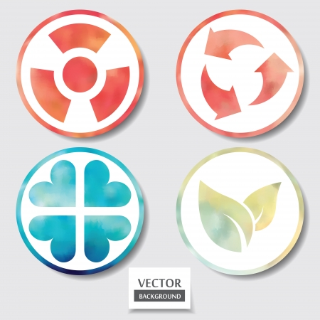 Set of four icons. Web and mobile apps circle watercolor button.  Vector illustration. Vector