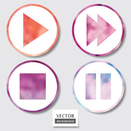 pause button: Set of four icons. Web and mobile apps circle watercolor button.  Vector illustration.