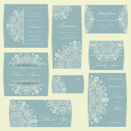 꽃 요소와 결혼식 초대 카드. 빈티지 배경입니다. 벡터 일러스트 레이 션.