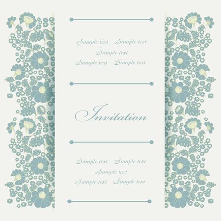 c�r�monie mariage: Mariage carte d'invitation d'�l�ments floraux. Illustration