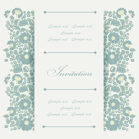 wedding ceremony: Wedding invitation card with floral elements.