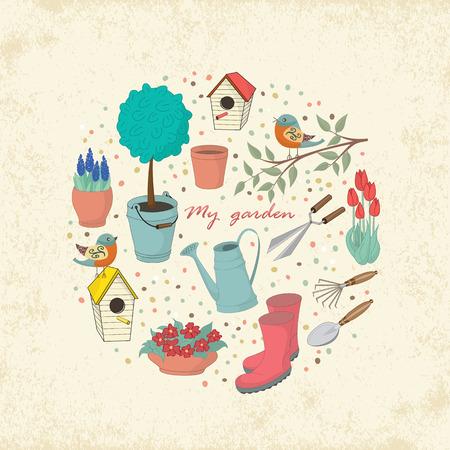 장식 손 정원 도구와 카드를 그려. 디자인 섬유에 대한 템플릿, 인사 장, 포장지, 포장, 배경. 빈티지 벡터 일러스트 레이 션.