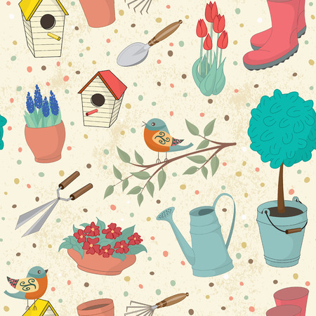 bird house: Decorative hand drawn card with garden tools. Template for design textile, greeting cards, wrapping paper, packages, backgrounds. Vintage vector illustration.