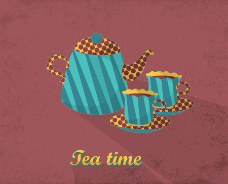 Tea time card. Template for design textile, greeting cards, wrapping paper, packages, backgrounds. Vintage vector illustration. Vector