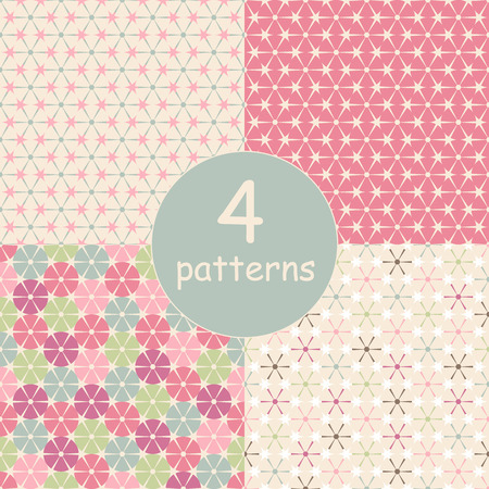 Set of four seamless pattern. Abstract  retro geometric backgrounds.  Multicolored circles and triangles.  Vector