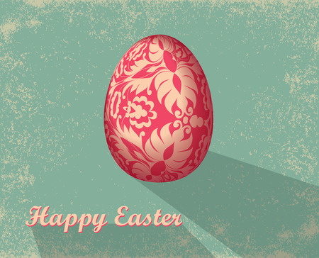Easter card with egg. Template for design textile, greeting cards, wrapping paper, packages, backgrounds. Vector illustration. Vector