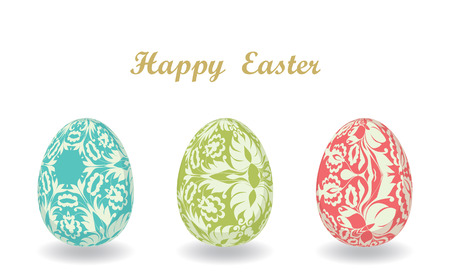 Easter card with eggs. Set of Easter eggs. Template for design textile, greeting cards, wrapping paper, packages, backgrounds. Vector illustration. Vector