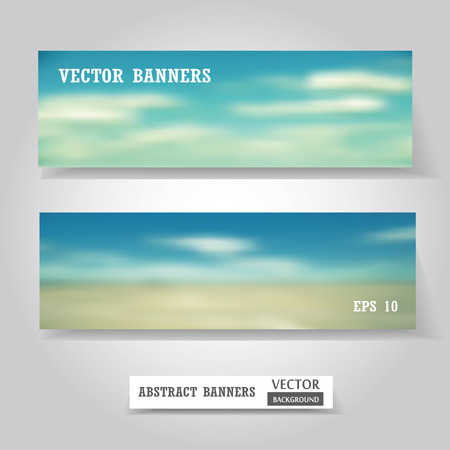 Vector web and mobile banners set, business card or flyer design. Blured dackground. Corporate website design. Vector illustration.