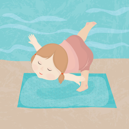 Hand drawing cartoon happy girl practice yoga. Vector