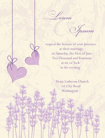Wedding invitation card, flyer design, packaging design. Lavender background, product labels. Vector illustration. Stok Fotoğraf - 26769794