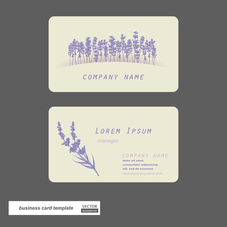 Business cards set. Lavender flower. Vector illustration.