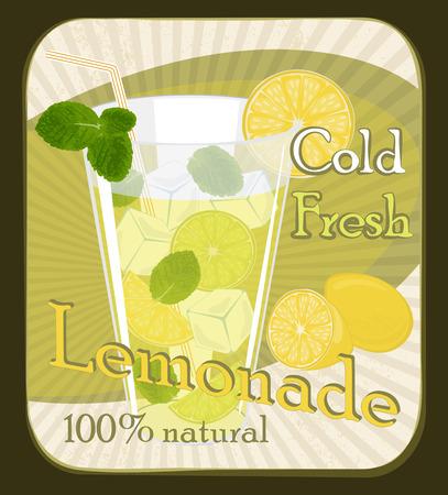 Vintage Lemonade poster , Vector illustration.  Vector