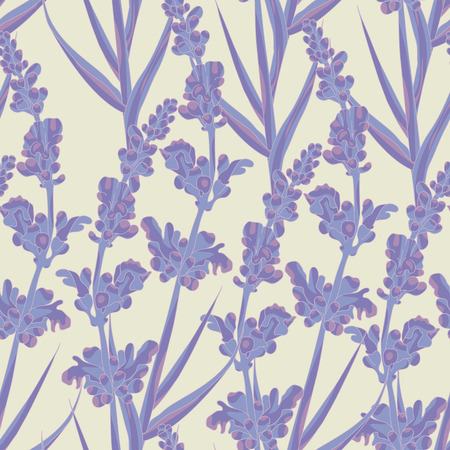 Spring lavender flowers seamless pattern background. Vector illustration. Vector