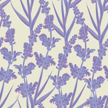 Spring lavender flowers seamless pattern background. Vector illustration.