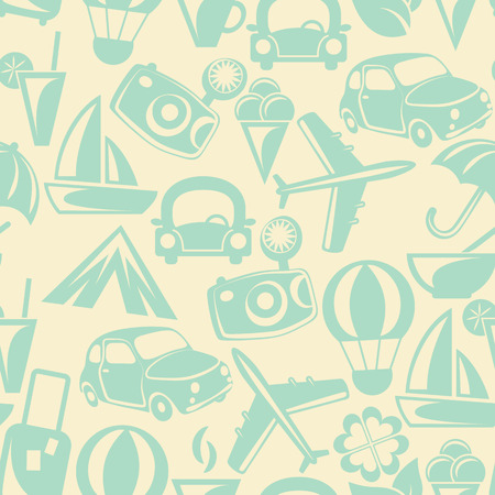 Traveling pattern. Retro travel icons. Colorful seamless background. Vector illustration.
