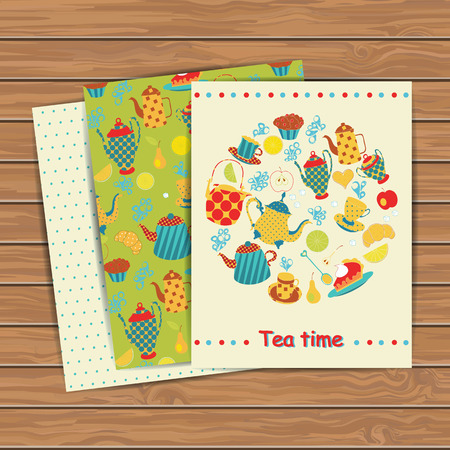 Tea time cards on wood plank background. Place for your text. Use for invitations, announcement cards. Vecror illustration. Vector