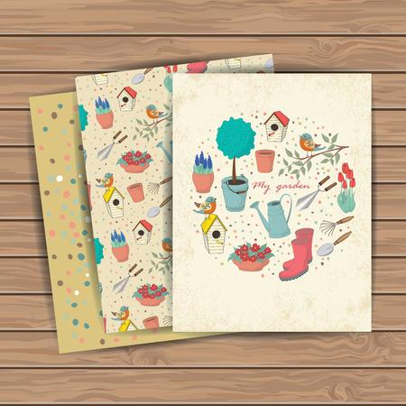 장식 손으로 나무 판자 배경에 정원 도구와 카드를 그려. 디자인 섬유에 대한 템플릿, 인사 장, 포장지, 포장, 배경. 빈티지 벡터 일러스트 레이 션. 일러스트