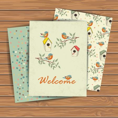 장식 손으로 나무 판자 배경에 새 집으로 카드를 그려. 디자인 섬유에 대한 템플릿, 인사 장, 포장지, 포장, 배경. 빈티지 벡터 일러스트 레이 션.