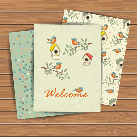 Decorative hand drawn card with bird house on wood plank background. Template for design textile, greeting cards, wrapping paper, packages, backgrounds. Vintage vector illustration. Vector