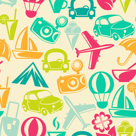 Traveling pattern. Retro travel icons. Colorful seamless background. Vector illustration. Vector