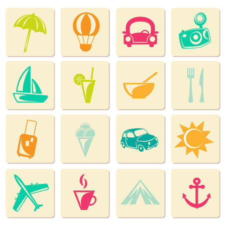 Retro travel summer icons.  Vector illustration.