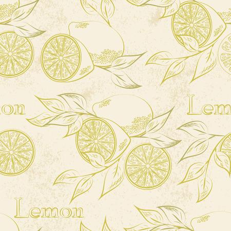 Lemon seamless patternl. Vector illustration. Retro fruitl design. Vector old paper texture background. Vettoriali