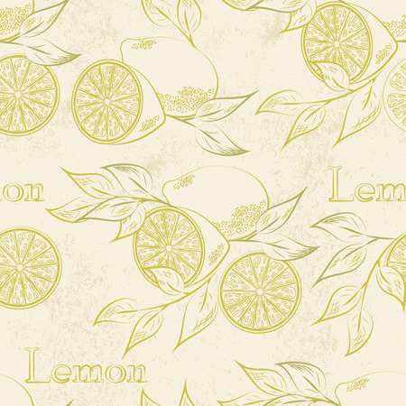 Lemon seamless patternl. Vector illustration. Retro fruitl design. Vector old paper texture background. Vector