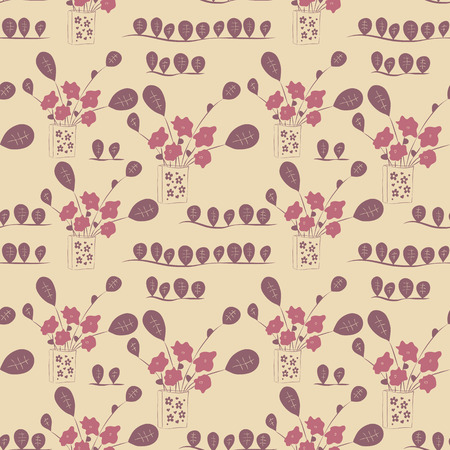 Seamless floral background with flowers in a vase. Vector illustration.