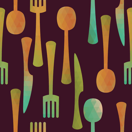 Seamless kitchen pattern. Multicolored cutlery icons made of triangles. Vector illustration