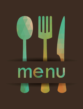 Menu design for restaurant . Multicolored cutlery icons made of triangles. Vector illustration. Illustration