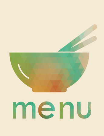 Menu design for restaurant . Multicolored cutlery icons made of triangles. Vector illustration. Vector