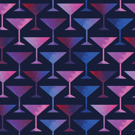 Cocktail seamless pattern . Multicolored cocktail icons made of triangles. Vector illustration.