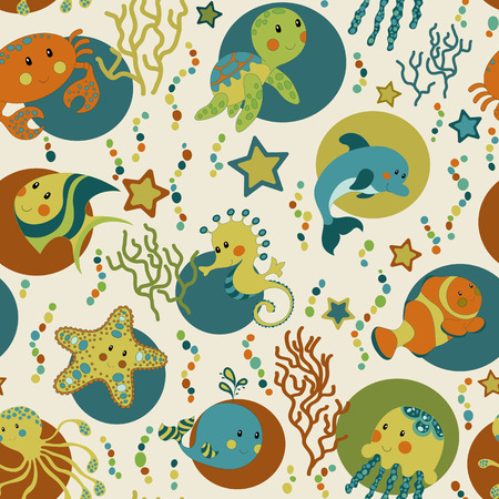 Sea creatures seamless pattern. Childish background. Holiday design. Vector illustration.