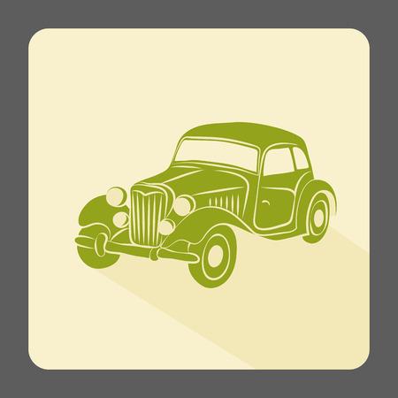 Retro car icon. Vintage style. Vector illustration.