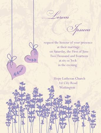 Bruiloft uitnodiging kaart, flyer ontwerp, packaging design. Lavendel achtergrond, productlabels. Vector illustratie.