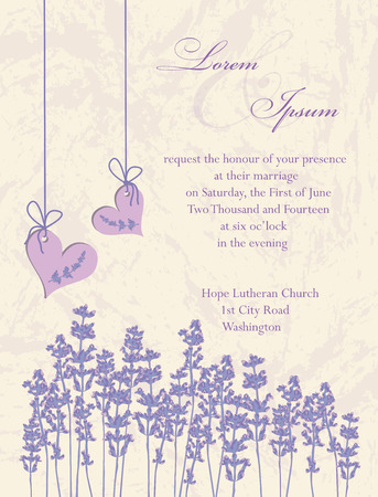 wedding invitation: Wedding invitation card, flyer design, packaging design. Lavender background, product labels. Vector illustration.