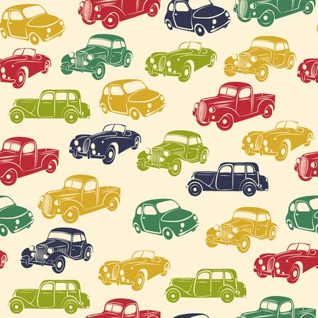 Retro car seamless pattern. Vector illustration. Vector