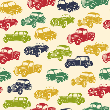 Retro car seamless pattern. Vector illustration.