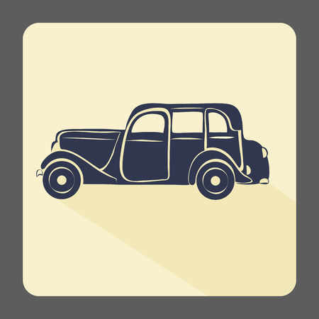 old sign: Retro car icon. Vintage style. Vector illustration.