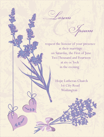 Wedding invitation card, flyer design, packaging design. Lavender background, product labels. Vector illustration. Vector