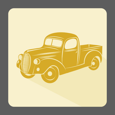 vintage truck: Retro car icon. Vintage style. Vector illustration.