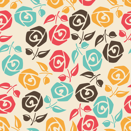 Seamless floral background with colorful roses. Vector illustration.