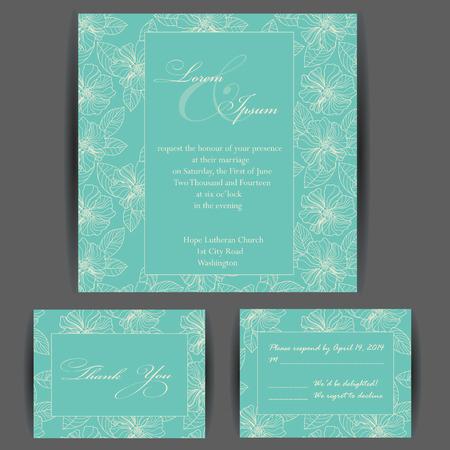 c�r�monie mariage: Mariage carton d'invitation avec des �l�ments floraux. Vintage background. Vector illustration.