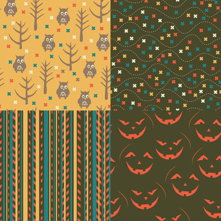 Set of Halloween seamless patterns. Childish background. Holiday design. Vector illustration. Vector