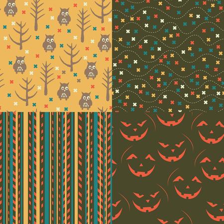 Set of Halloween seamless patterns. Childish background. Holiday design. Vector illustration. Vector