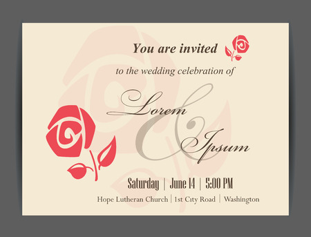 Wedding invitation card with floral elements. Vintage background. Vector illustration.