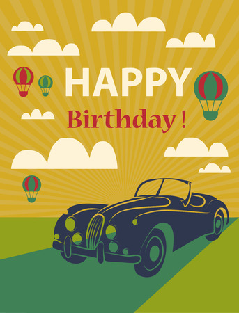 birthday party kids: Happy birthday card  with retro car and hot air balloons. Vector illustration