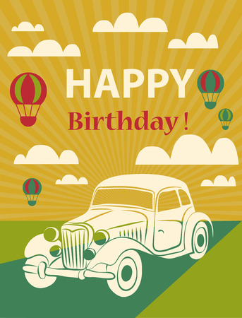 Happy birthday card  with retro car and hot air balloons. Vector illustration  Vector